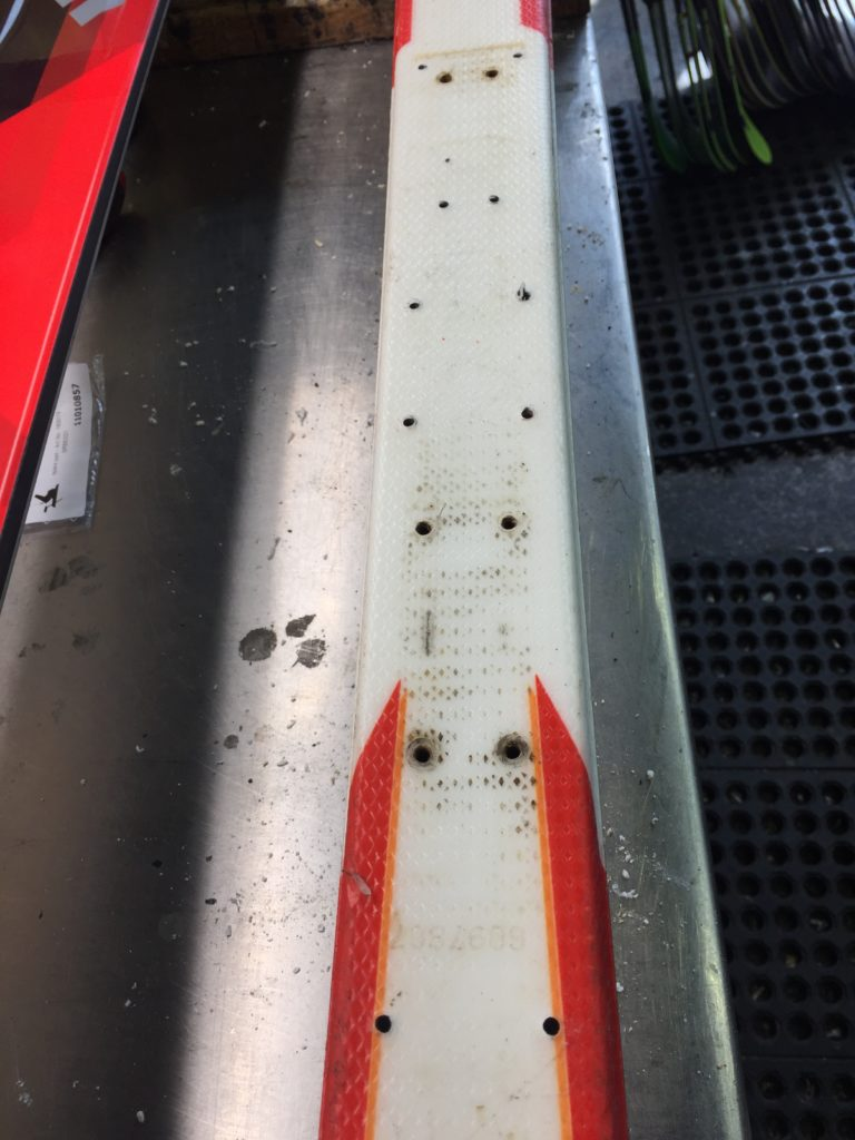 Ski that has too many binding mount holes